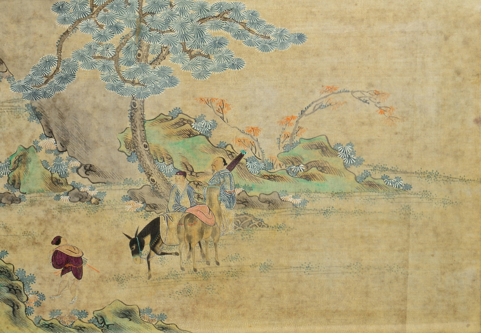 Lot 4010113: Chinese Panoramic Painting & 2 Embroidered Banners