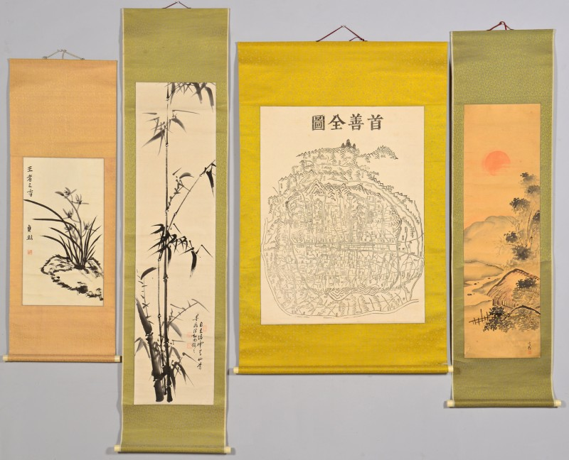 Lot 4010114: Asian map &  scroll paintings