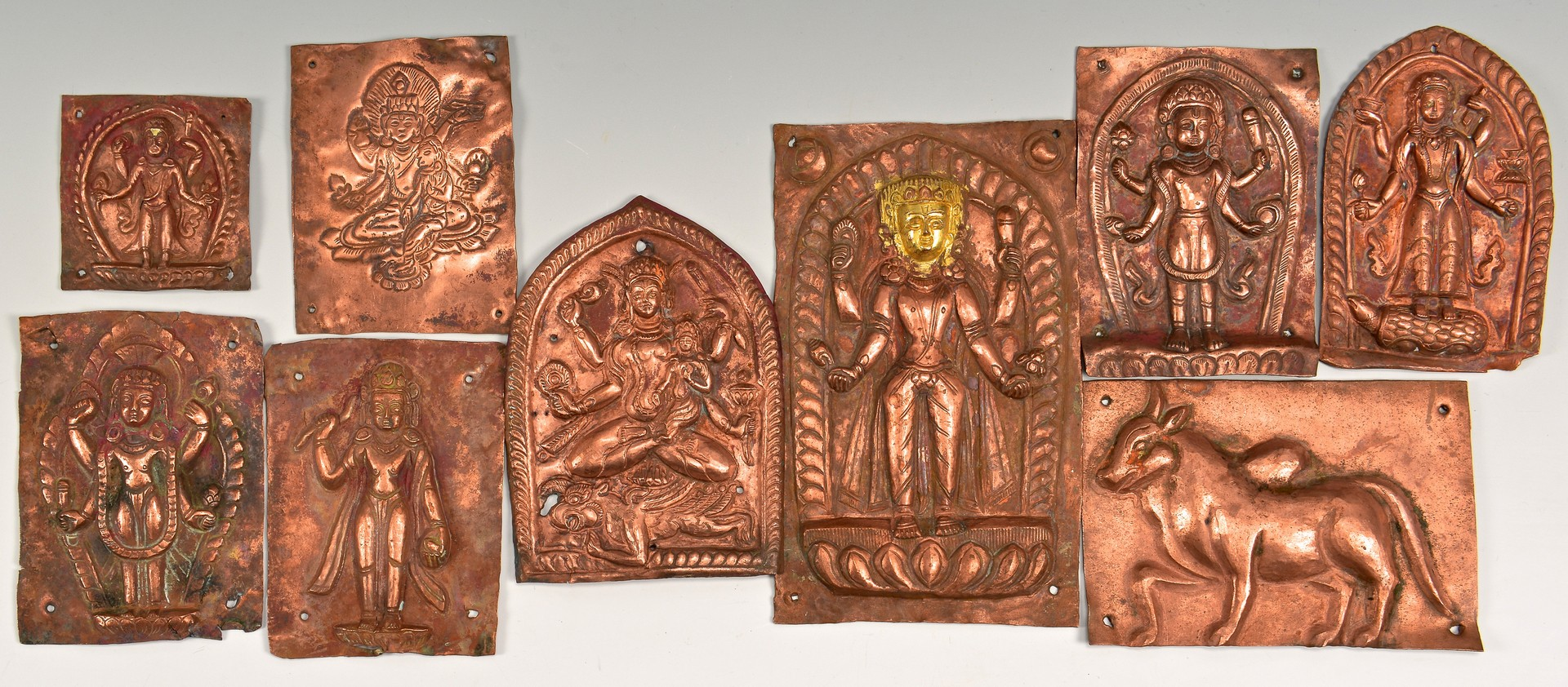 Lot 4010122: 13 Tibetan/Nepalese Items, incl. 9 Copper Plaques