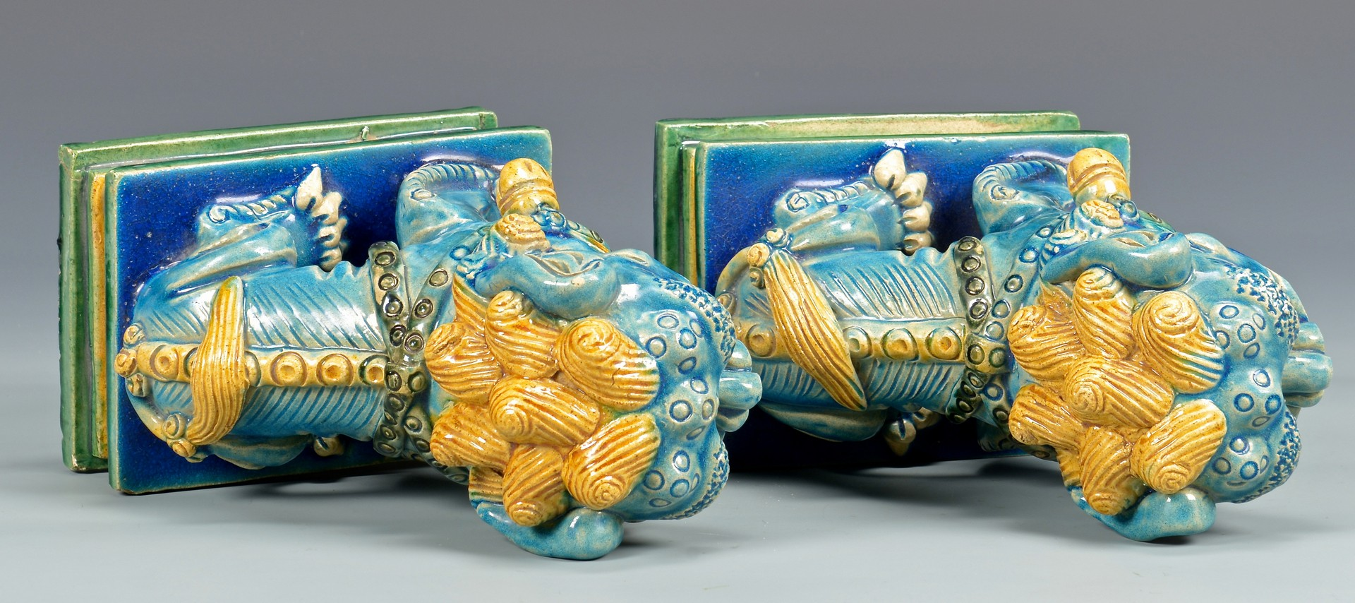 Lot 4010137: Pr. Chinese Polychrome Glazed Foo Dog Figurals