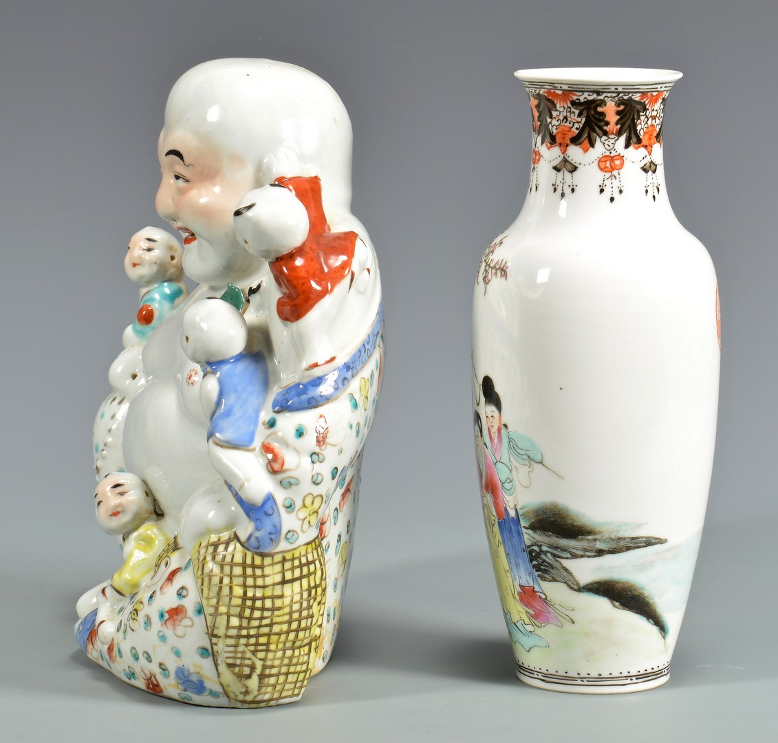 Lot 4010139: Republic Vase and Laughing Buddha with children
