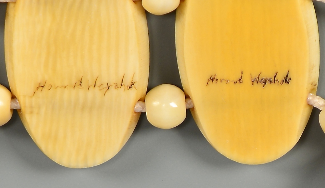 Lot 4010144: Alaskan Scrimshaw Ivory & Gold Nugget Jewelry Set, Howard Weyahok