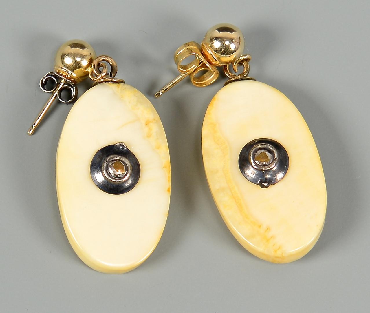 Lot 4010144 Alaskan Scrimshaw Ivory Gold Nugget Jewelry Set Howard Weyahok