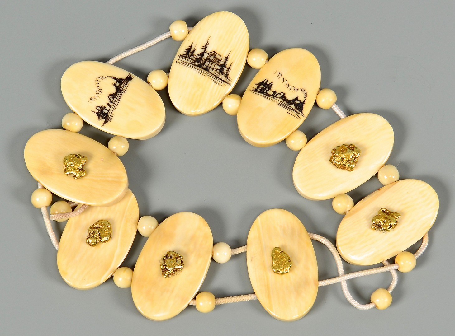 Lot 4010144: Alaskan Scrimshaw Ivory & Gold Nugget Jewelry Set, Howard Weyahok