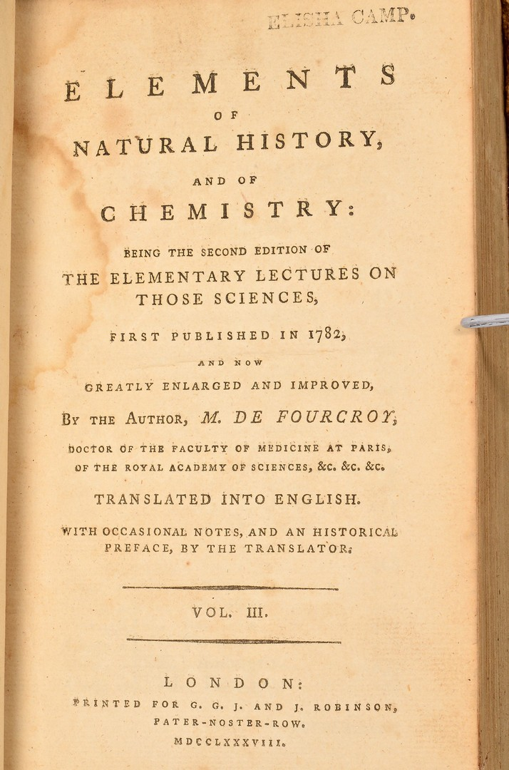 Lot 4010175: Fourcroy: Elements of Natural History, 1788 and 17
