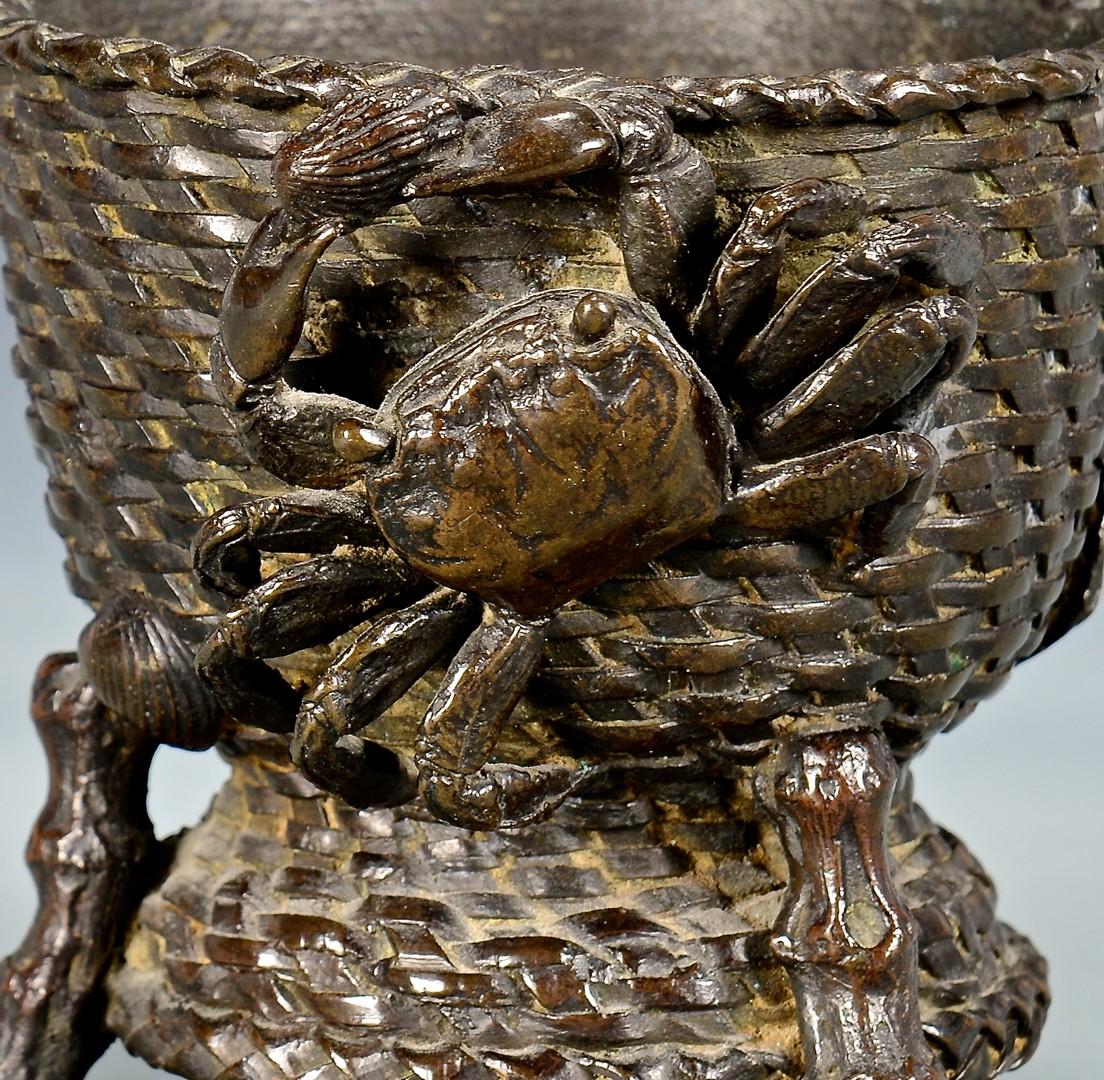 Lot 4010177: Bronze Dish w/ crabs & 2 Cloisonne Vases