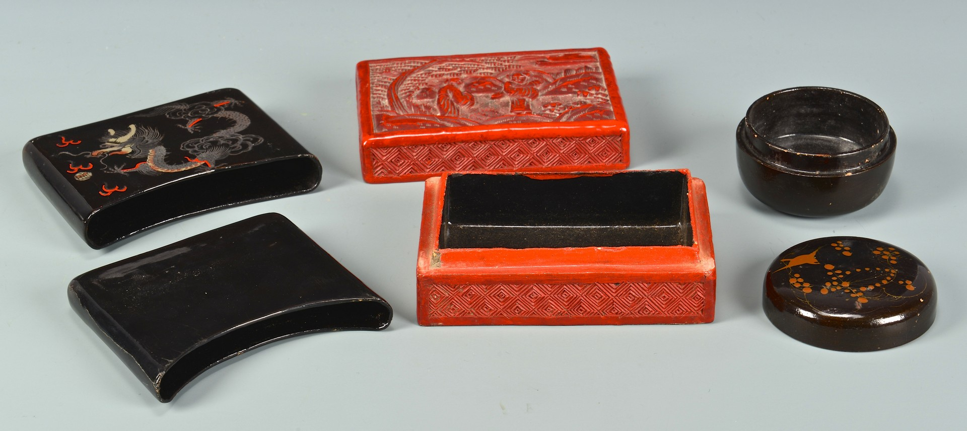 Lot 4010183: 6 Asian Boxes inc. Tortoise, Cinnabar