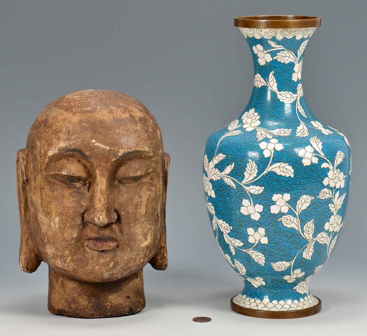 Lot 4010200: Carved Buddha Head, Cloisonne Vase