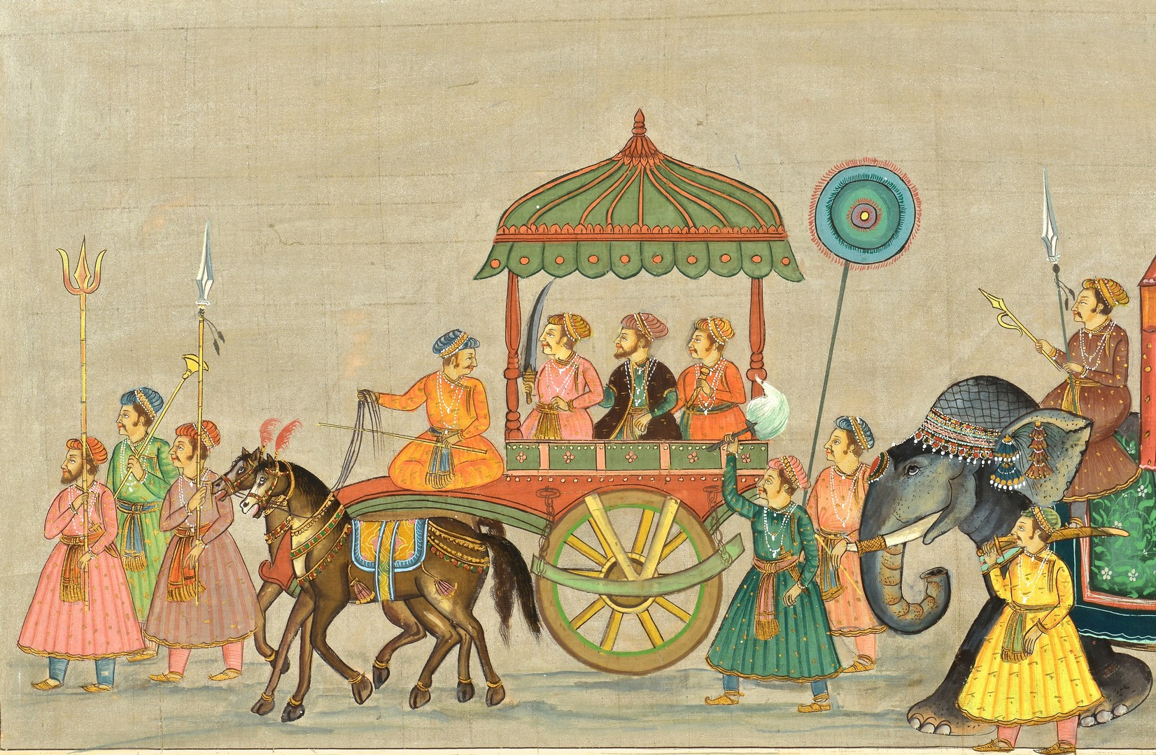 Lot 4010204: Indian School Watercolor on Cloth