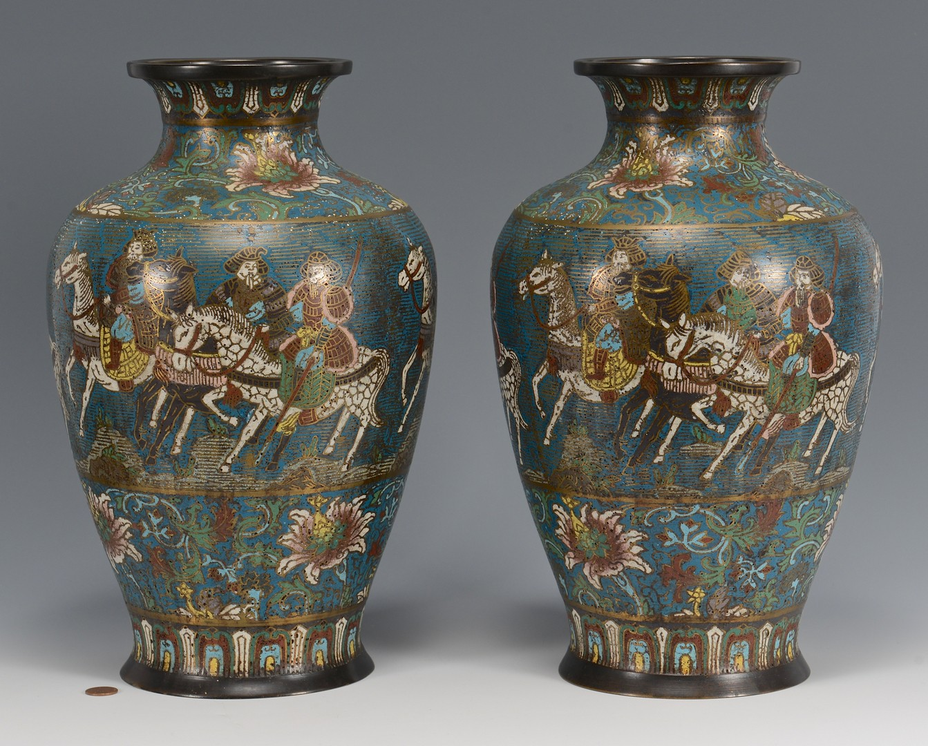 Lot 4010209: Pair of Champleve Vases
