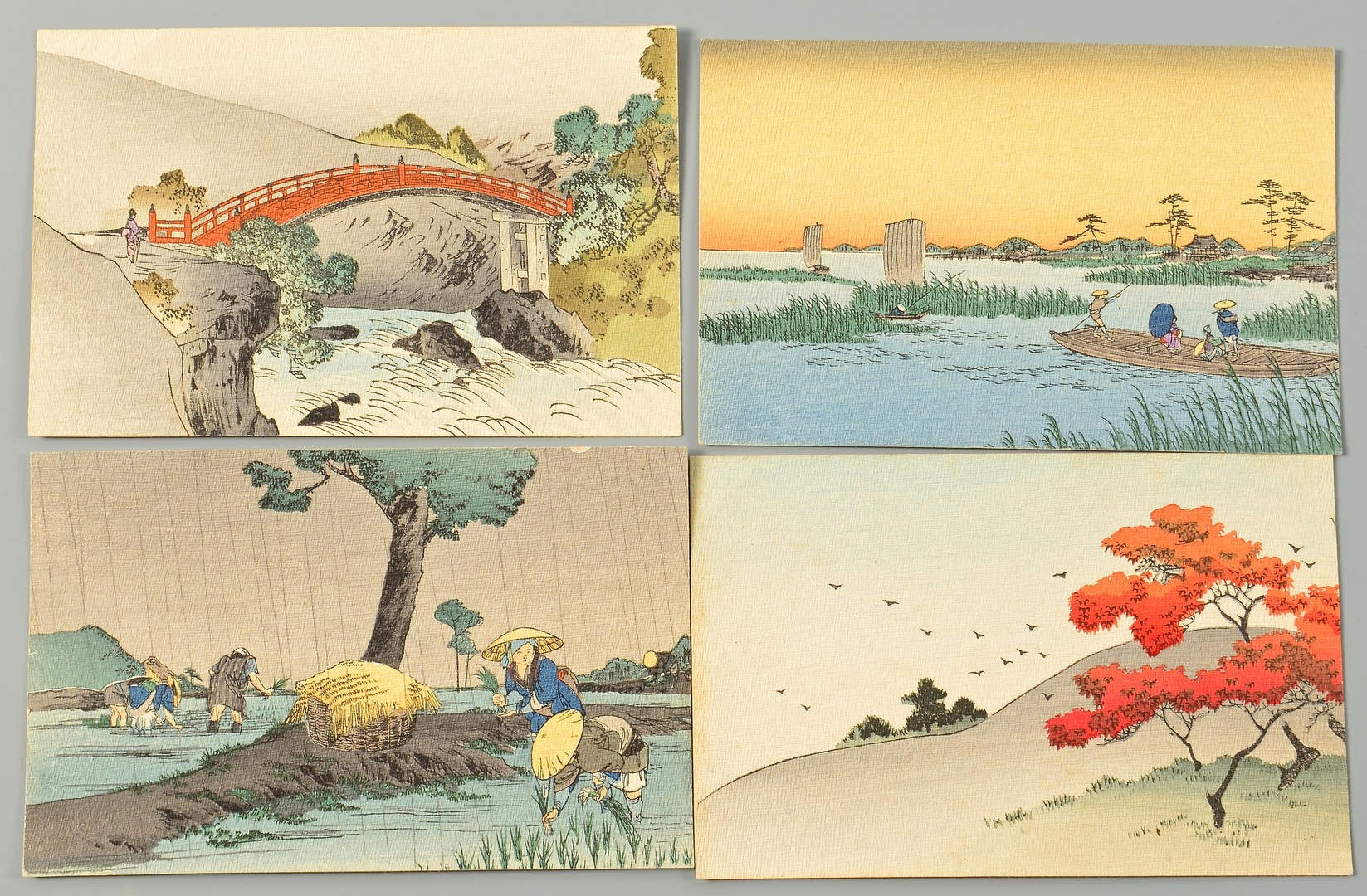 Lot 4010211: 12 Japanese Woodblock Postcards by Hiroshige