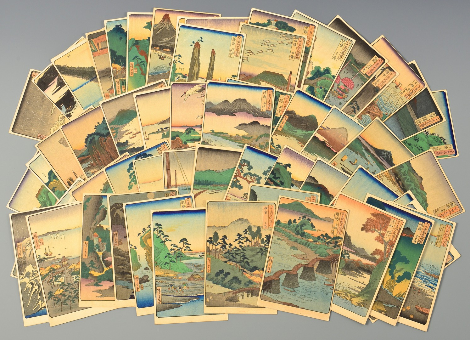 Lot 4010212: Collection Japanese Woodblock Postcards, 53 Stations of the Tokaido Hwy.