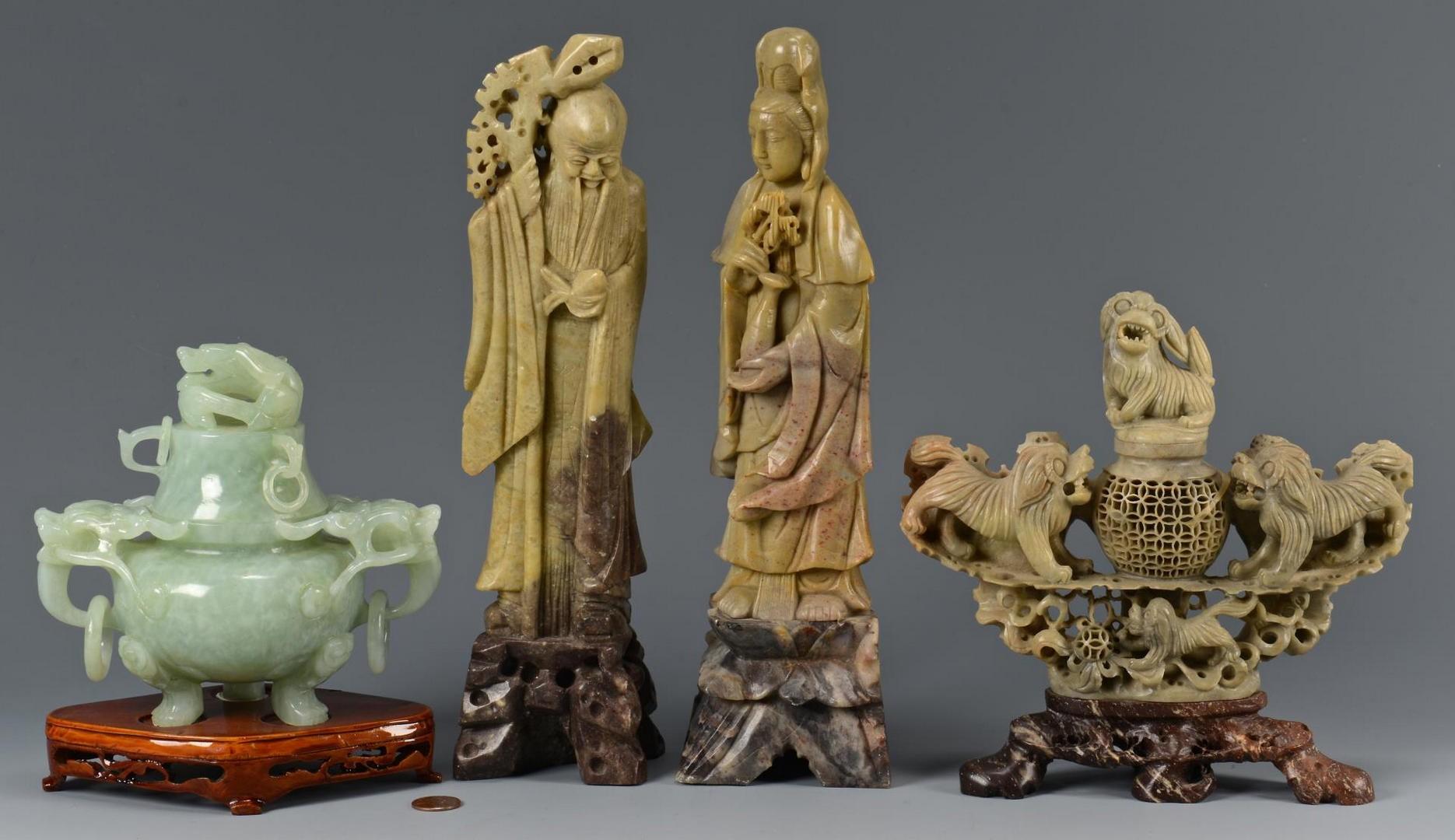 Lot 4010213: Pr Chinese Soapstone Lohan Figures, Jar, Censer