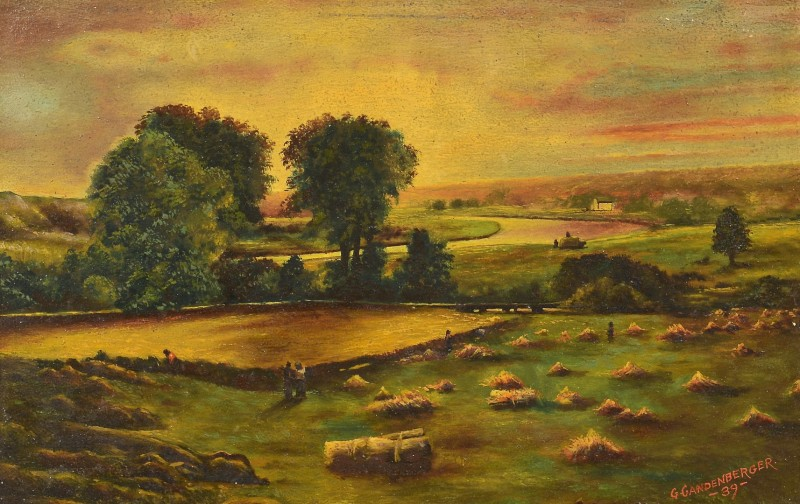 Lot 4010220: Gandenberger oil on board farm landscape
