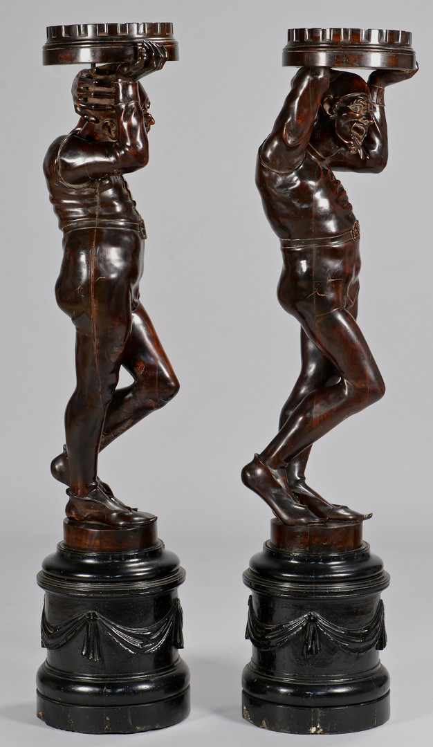 Lot 106: Pr. Large European Carved Figural Pedestals