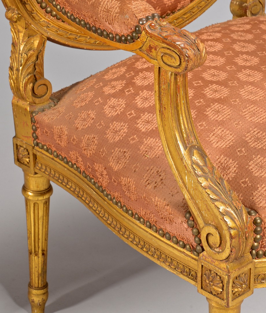 Lot 107: Pr. Louis XVI Style Carved Fauteuils