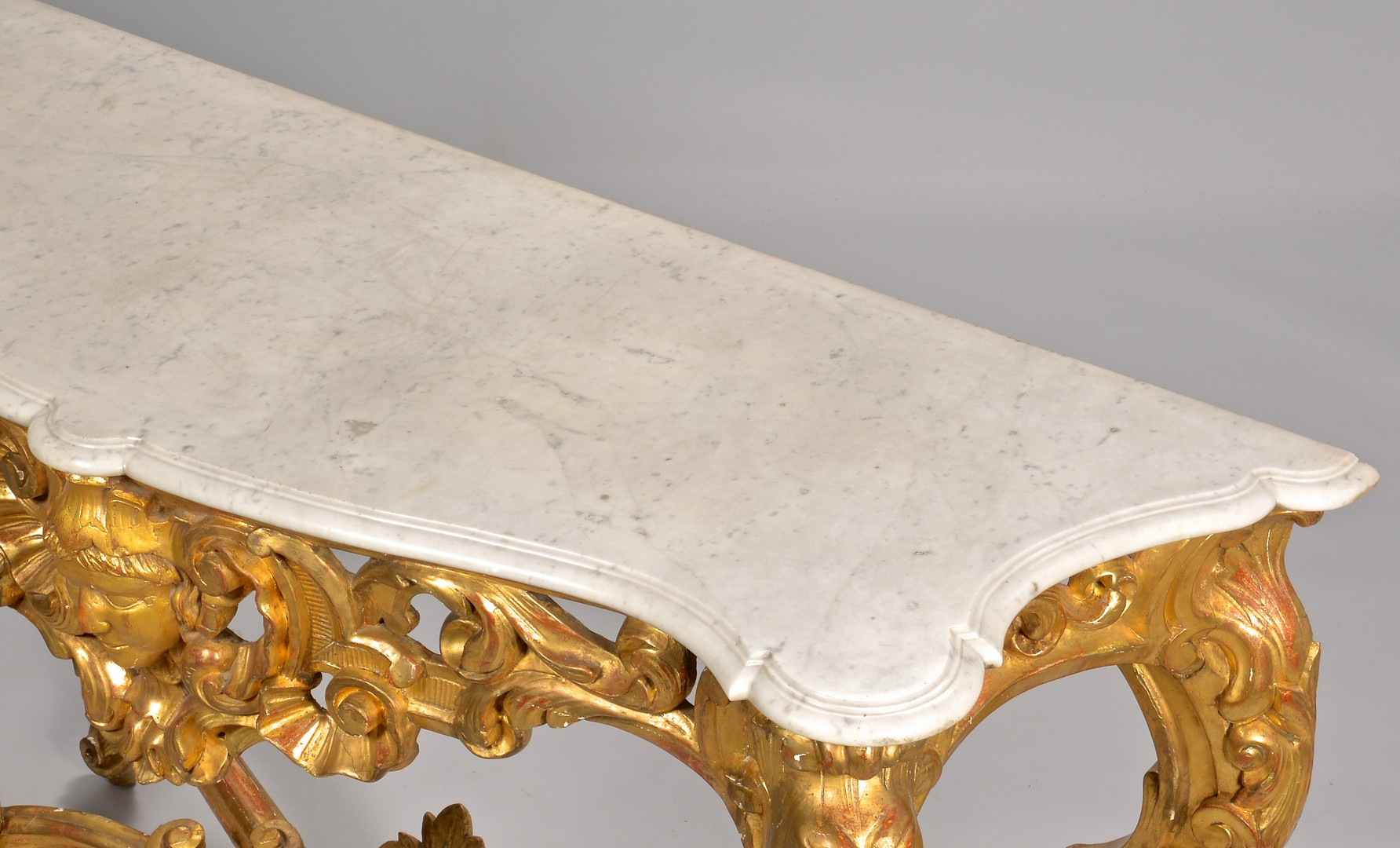 Lot 108: Continental Giltwood Console Table w/ marble top