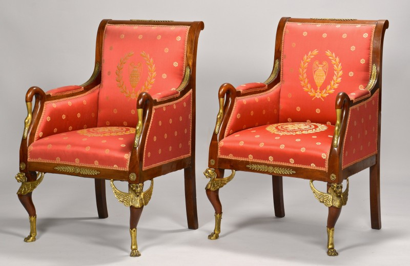 Lot 109: Pair Napoleon III Armchairs with Ormolu
