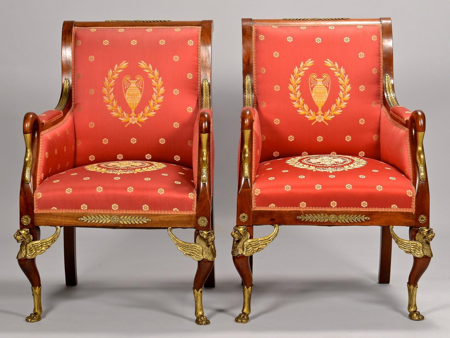 Lot 109: Pair Napoleon III Armchairs with Ormolu