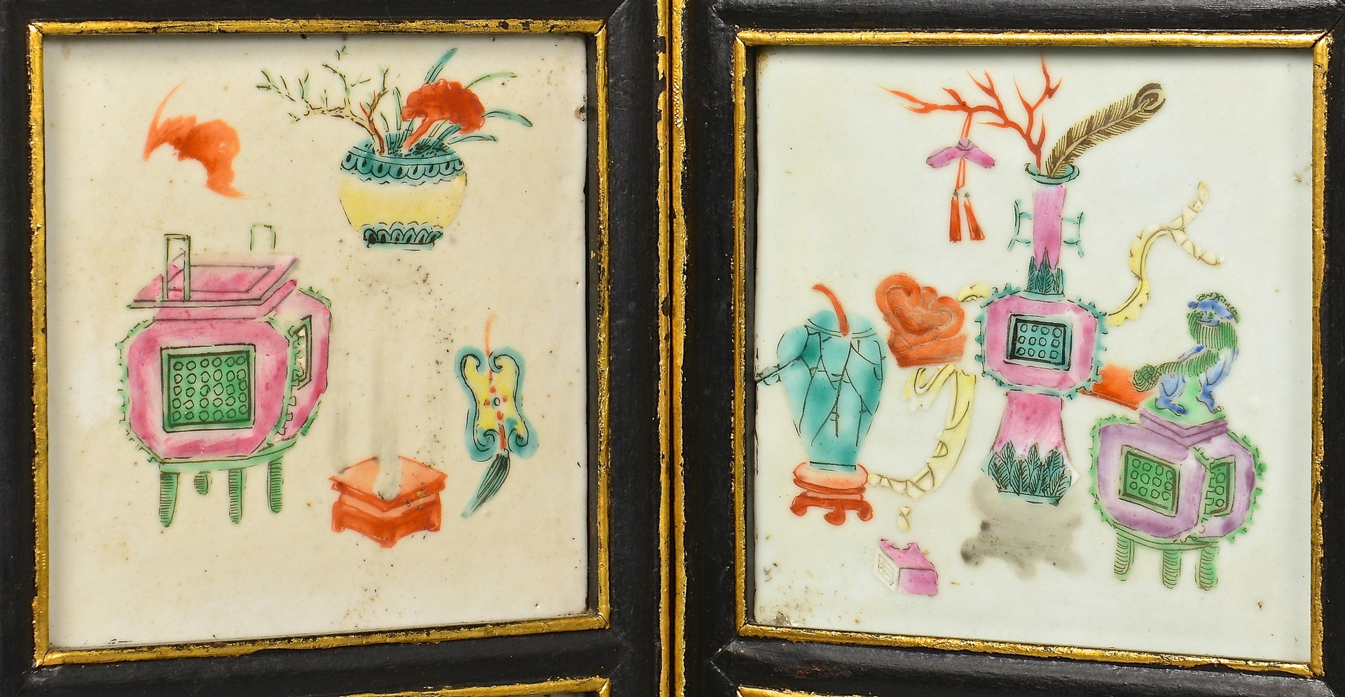 Lot 10: Chinese Famille Rose Plaque Screen