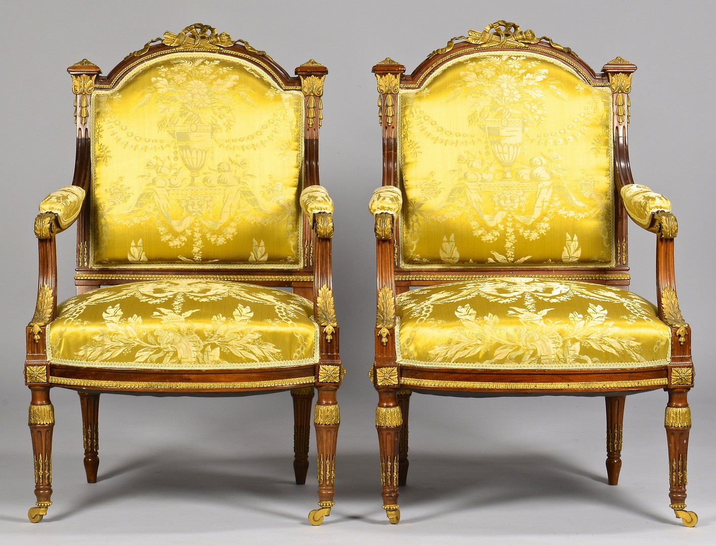 Lot 111: French Louis XVI Style Chairs w/ Bronze Mounts