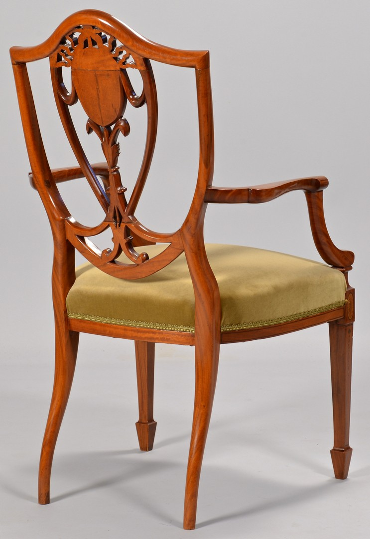 Lot 116: 2 Edwardian Satinwood Chairs w/ Paint Decoration