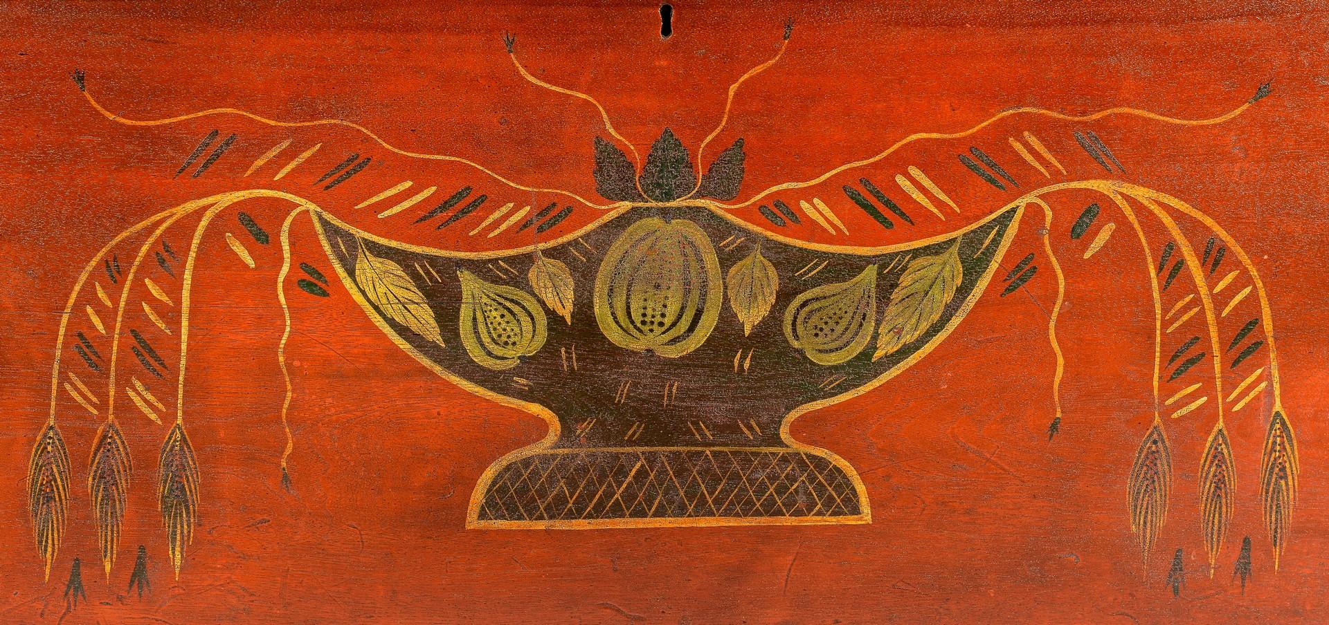 Lot 119: Urn Decorated Blanket Chest, Valentine Yoder
