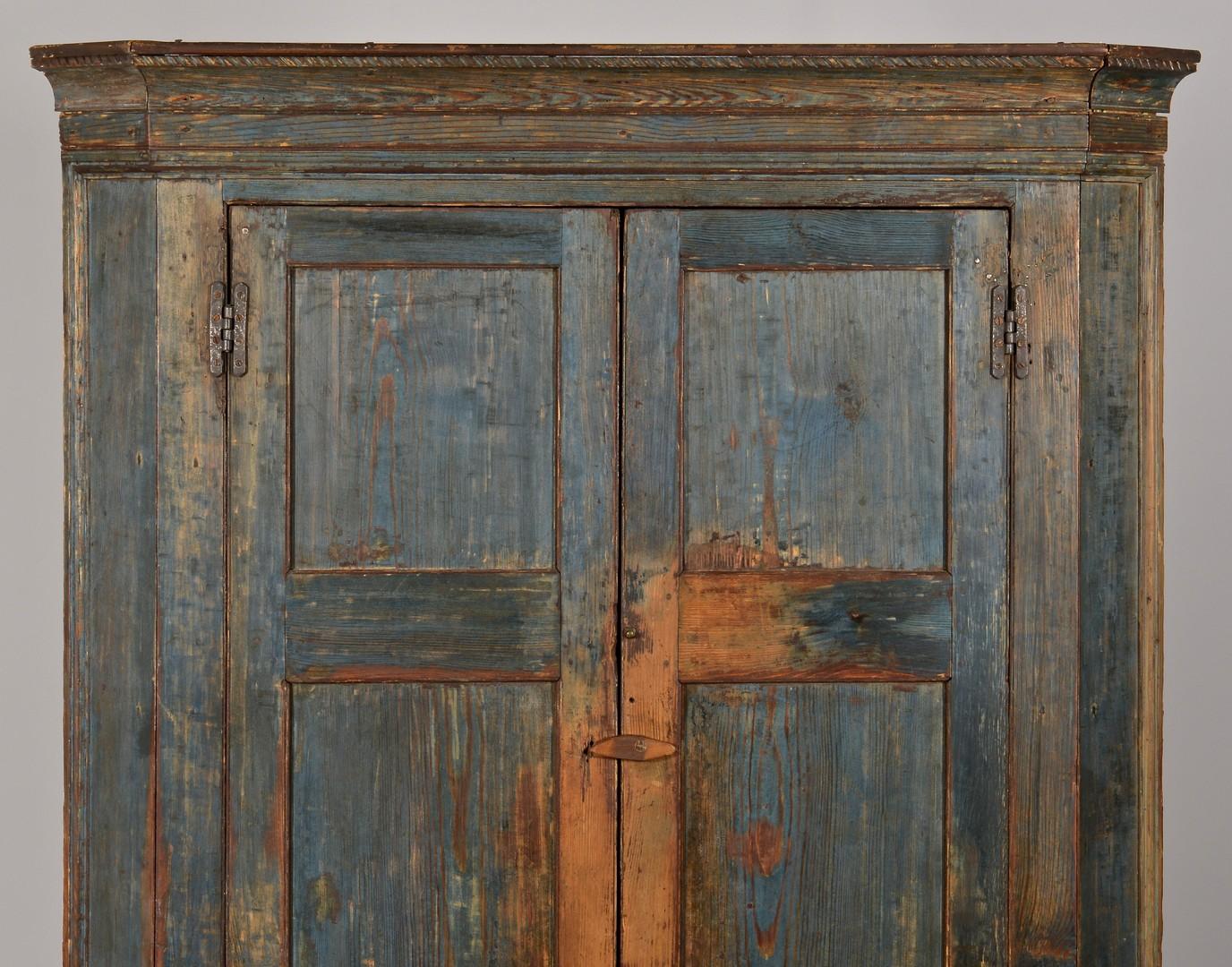 Lot 120: Painted Piedmont Carolina Corner Cupboard