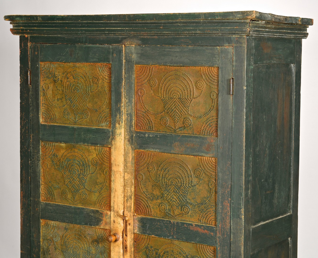 Lot 124: Virginia Green Painted Pie Safe, Tapered Legs