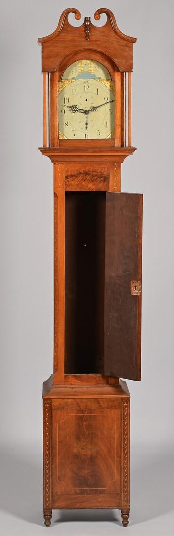 Lot 127: Vine Inlay Tall Case Walnut Clock, Kentucky Histor