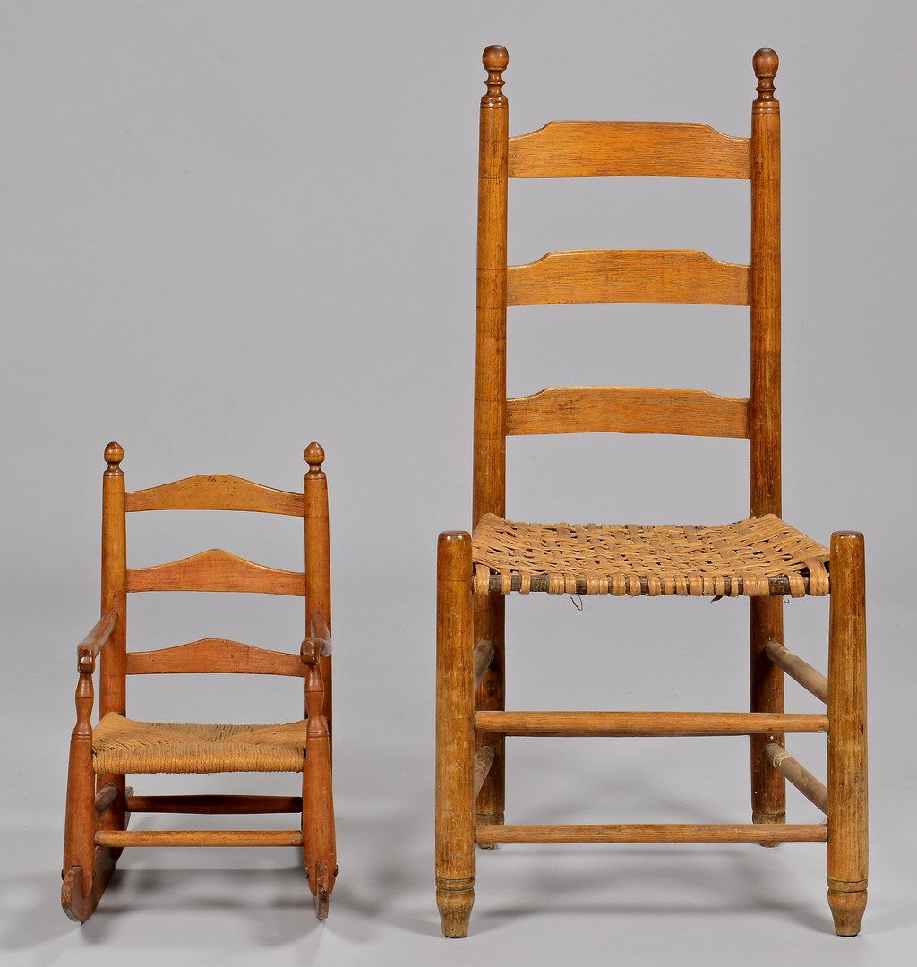 Lot 131: East TN Child Rocking Chair and Side Chair