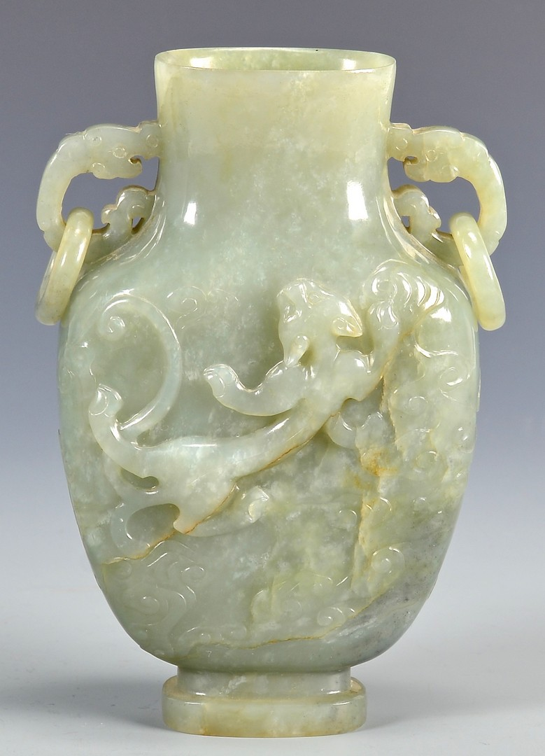 Lot 13: Jade Vase with Chih Lung Dragon and Bats