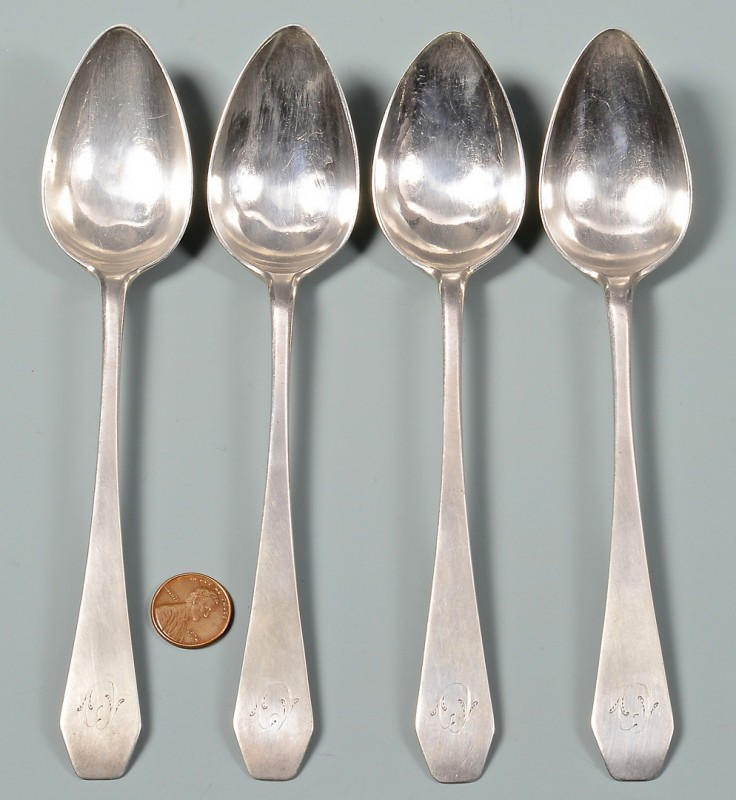 Lot 146: 4 Fleshart TN Coffin End Spoons