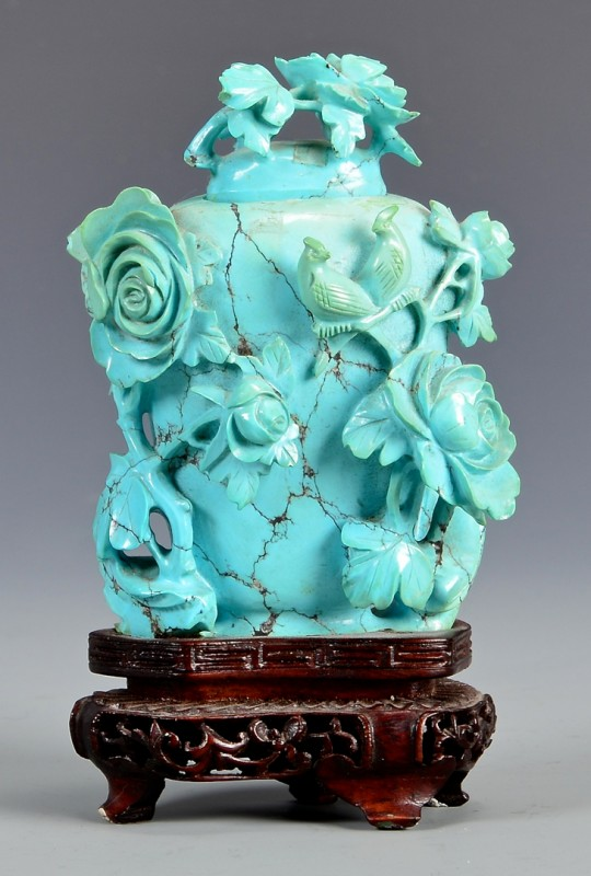 Lot 14: Qing Carved Turquoise Snuff Bottle