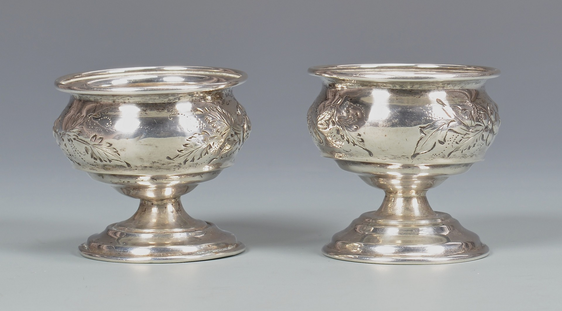 Lot 157: Pair coin silver salts and Kitts KY Cream Jug