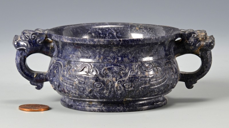 Lot 15: Lapis carved bowl or censer