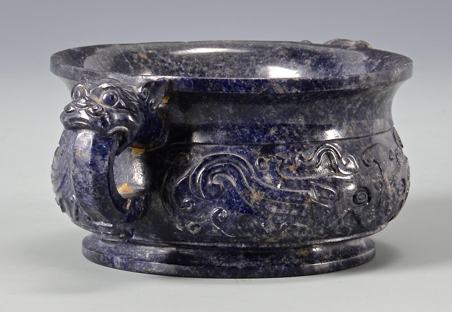 Lot 15: Lapis carved bowl or censer