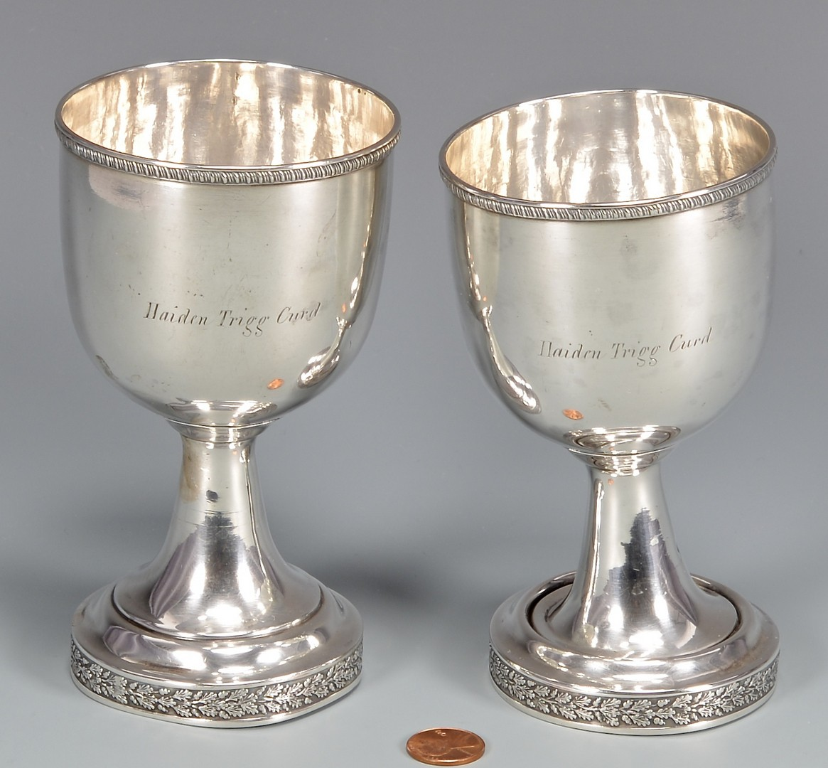 Lot 163: Pr Coin Silver Goblets, Ky History