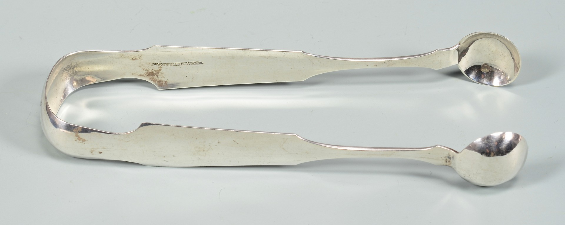 Lot 166: KY Coin Silver Tongs and Coin Silver Cream Ladle