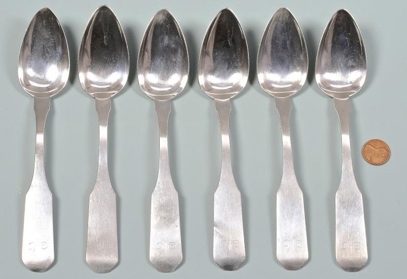 Lot 169: B.B. Marsh Ky Coin Silver Dessert Spoons