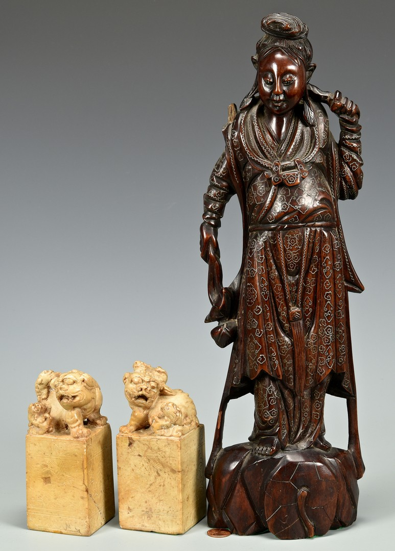 "Lot 16: Inlaid Hardwood 16"" Figure and Foo Lion Seals"