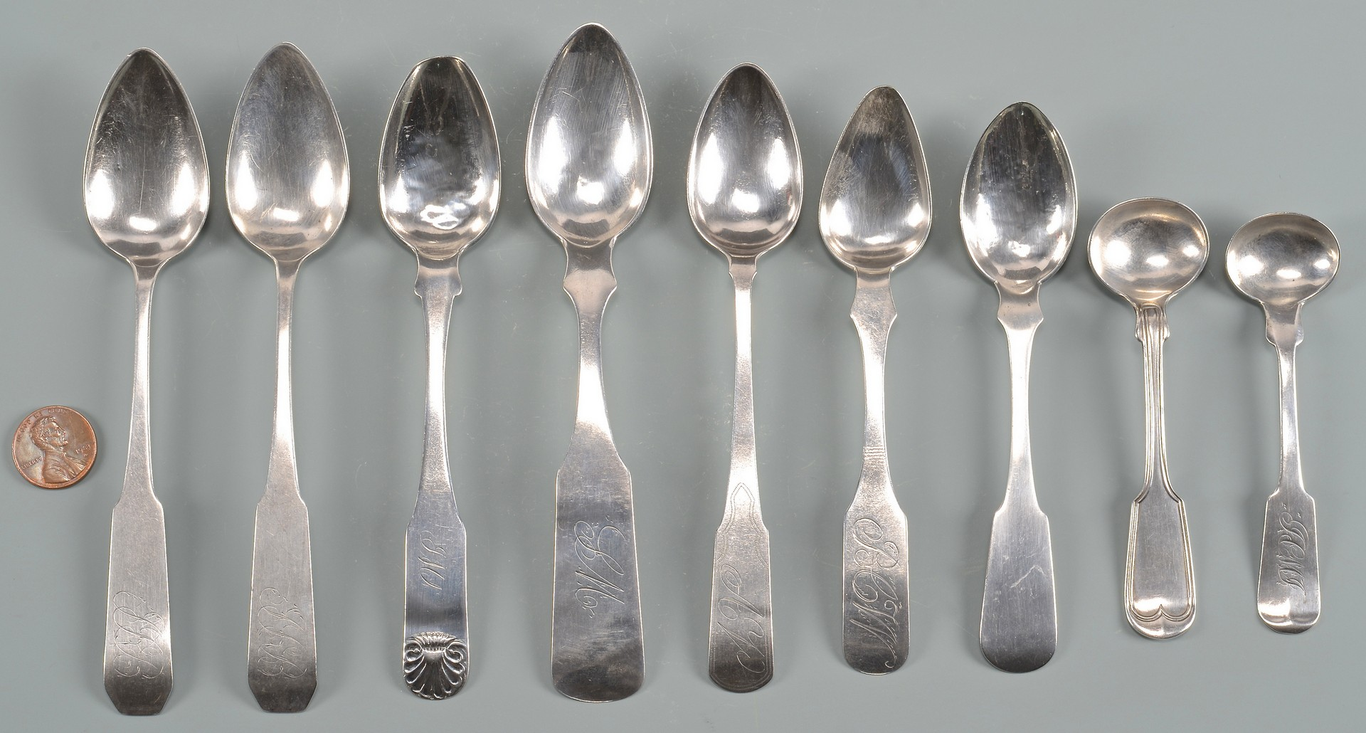 Lot 172: 11 pcs. Coin Silver Flatware mostly Southern