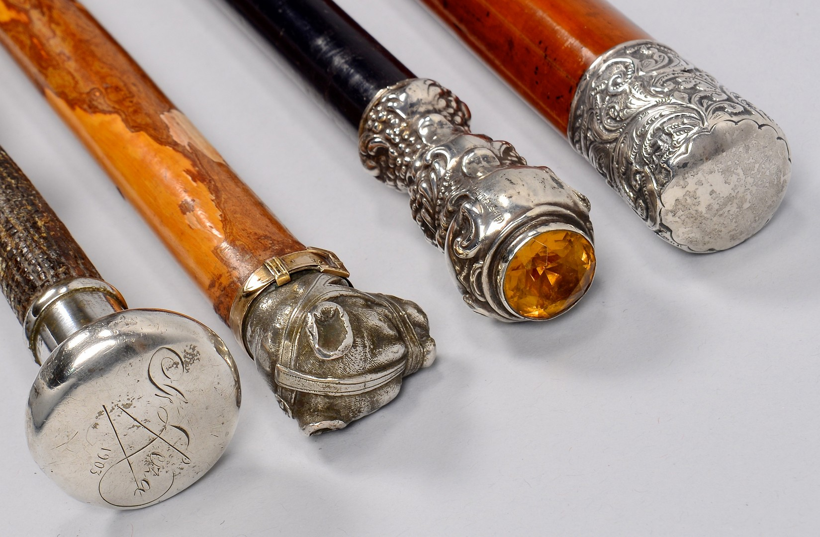 Lot 175: 6 Walking Sticks, sev. Sterling Handles