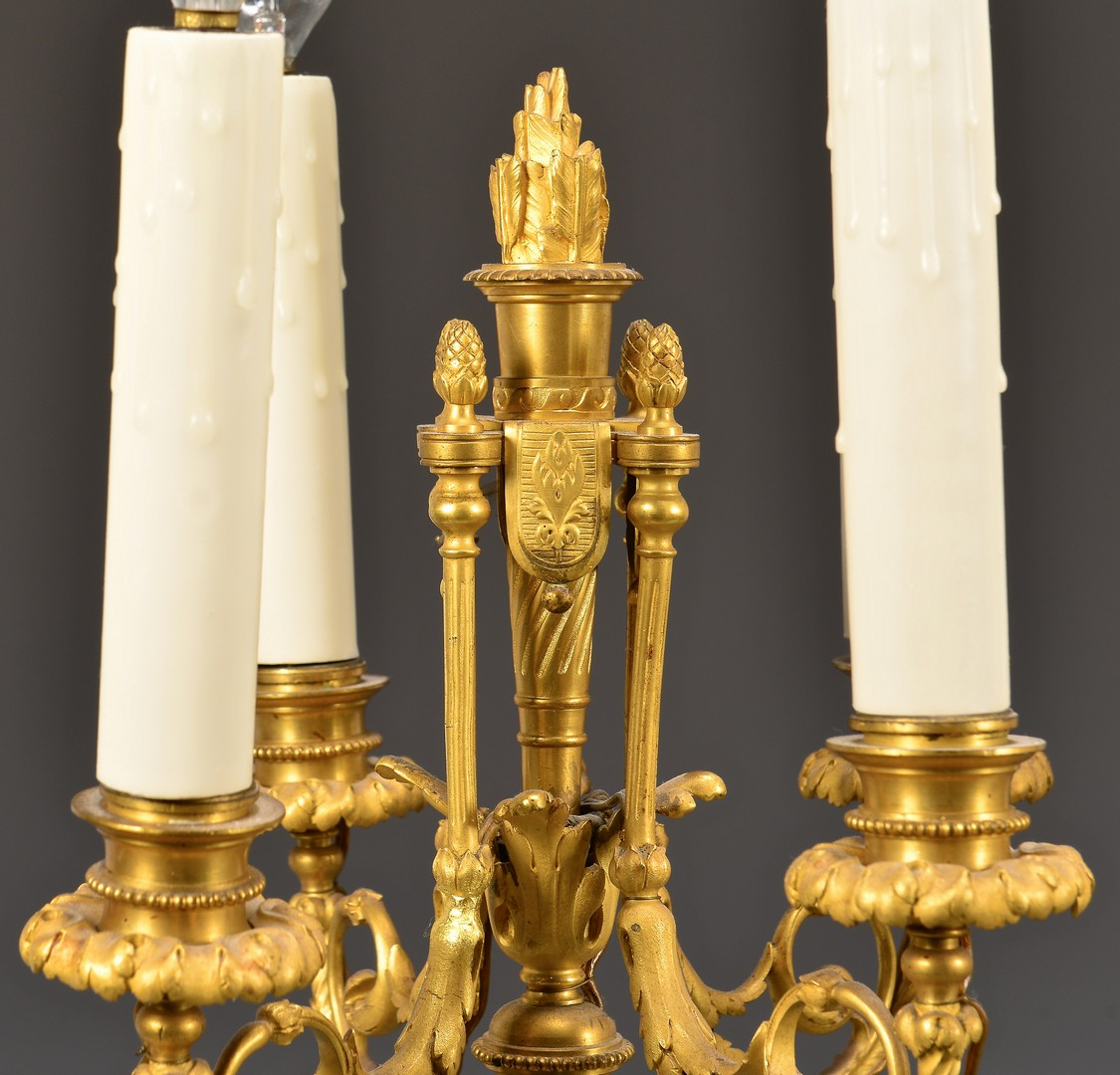 Lot 179: Pr Gilt Bronze Candelabra Lamps w/ Four Lights
