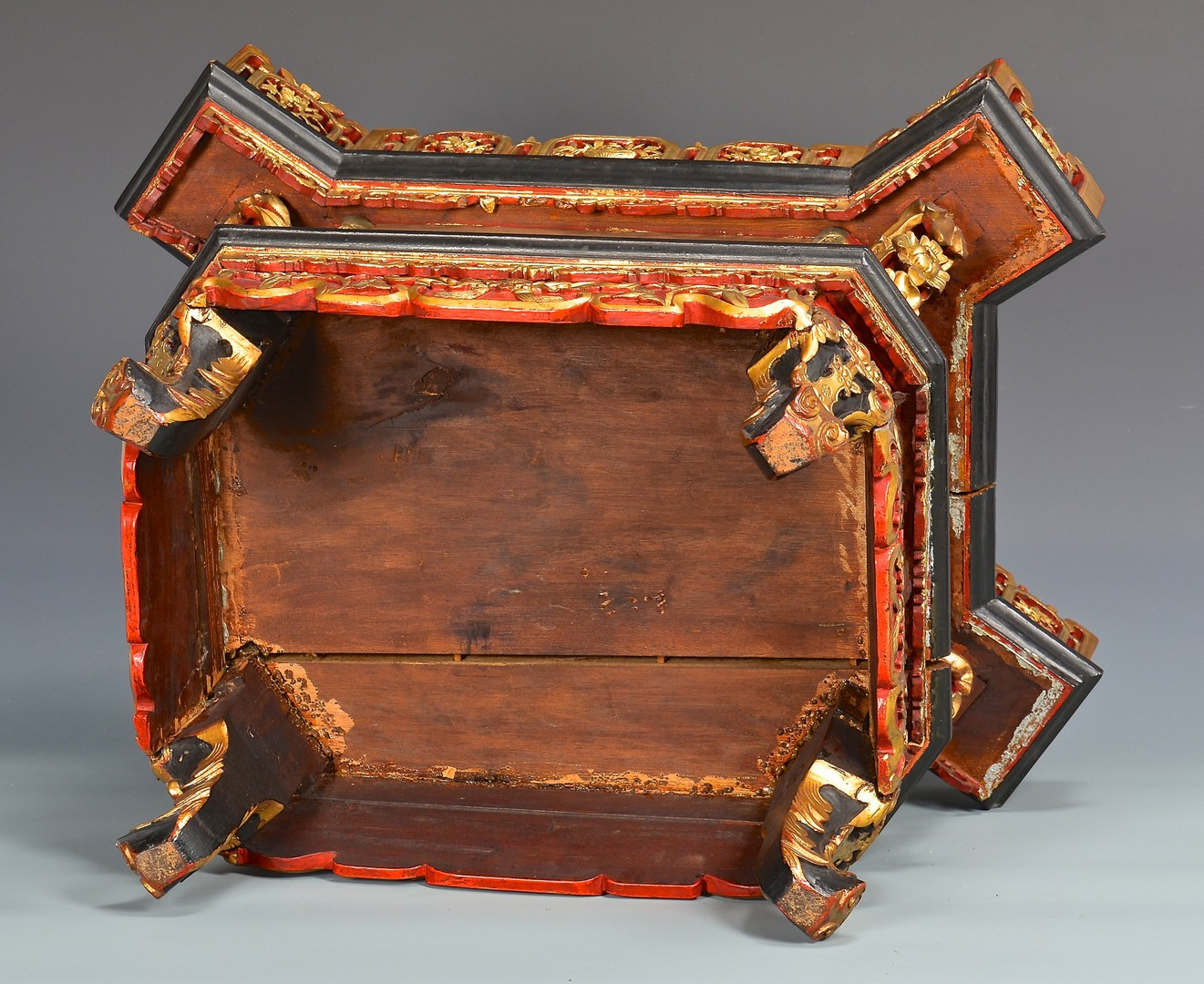 Lot 17: Chinese Gilt Carved Temple Altar or Shrine