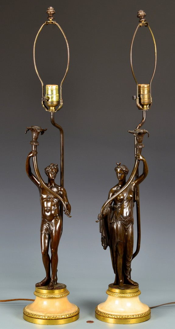 Lot 180: Pr. Classical Figural Candelabra Lamps
