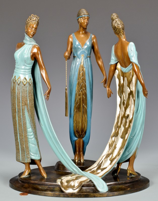 Lot 182: Erte Gilt Painted Bronze, Three Graces