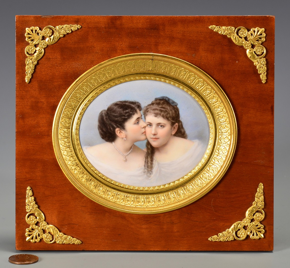 Lot 186: Mathieu Deroche miniature, 2 young women