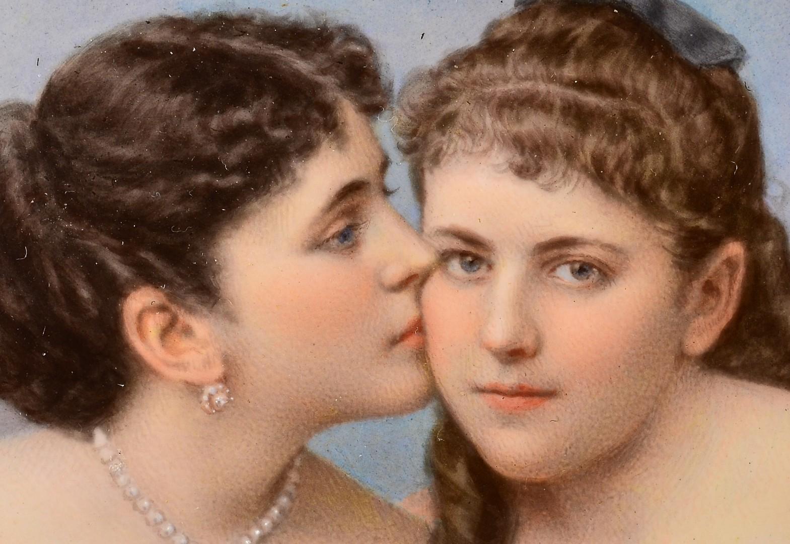 Lot 186: Mathieu Deroche miniature, 2 young women