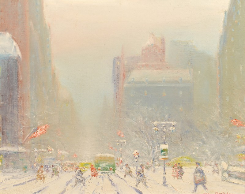 Lot 196: Johann Berthelsen O/C, New York Snow Scene